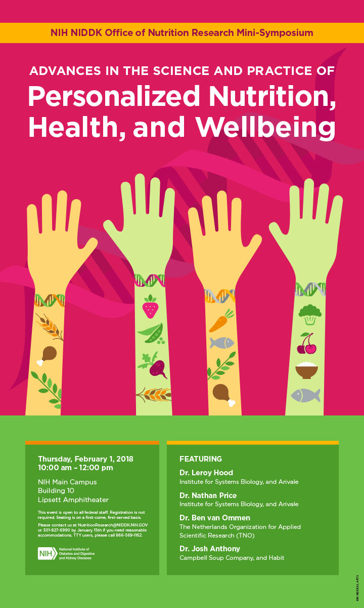 Poster design to promote a February 2018 symposium on nutrigenetics and personalized nutrition