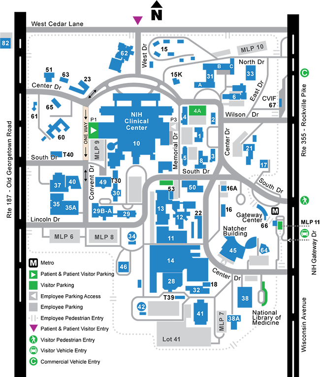 NIH Visitor Map - Bethesda