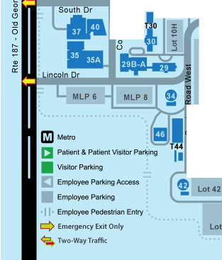 South West Blue Zone main evacuation exit is Center Drive