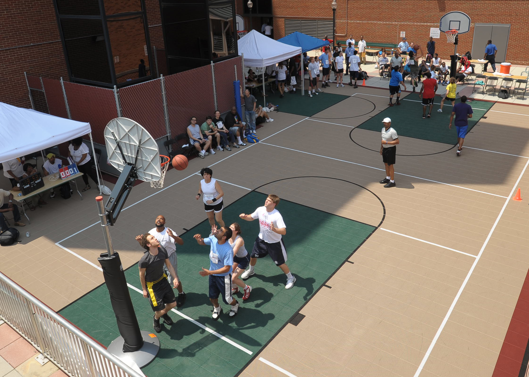 aerial view of 3on3 basketball tournament