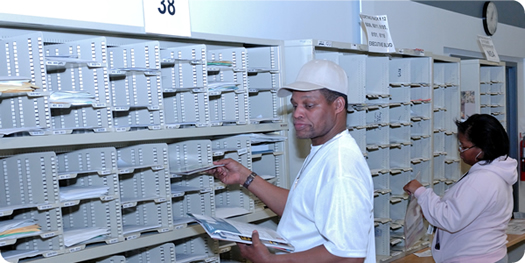 Sorting mail at sorting stations