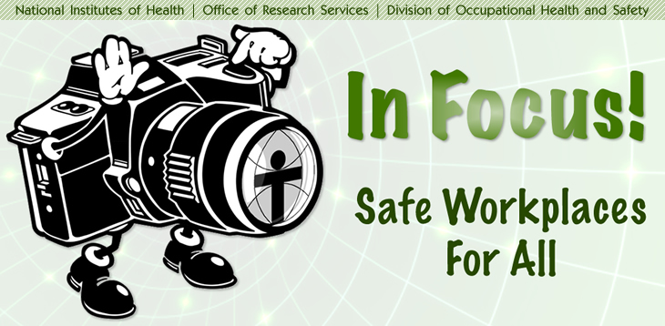 "Drawing of a camera taking a photo of the phase ""In Focus!  Safe Workplaces for All"""