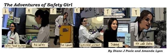 Girl showing how to work safely in a laboratory