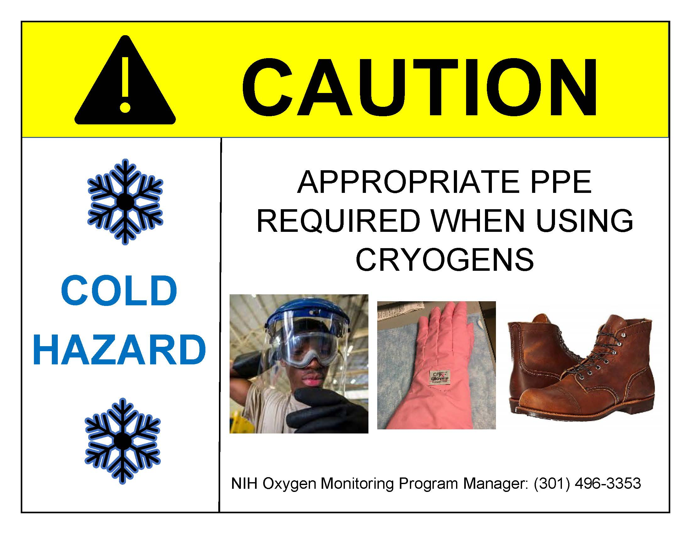 Caution Appropriate PPE Required When Using Cryogens Sign